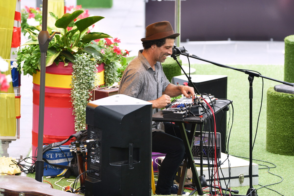 Producer and DJ A-Wyre plays on the Crown St Mall stage