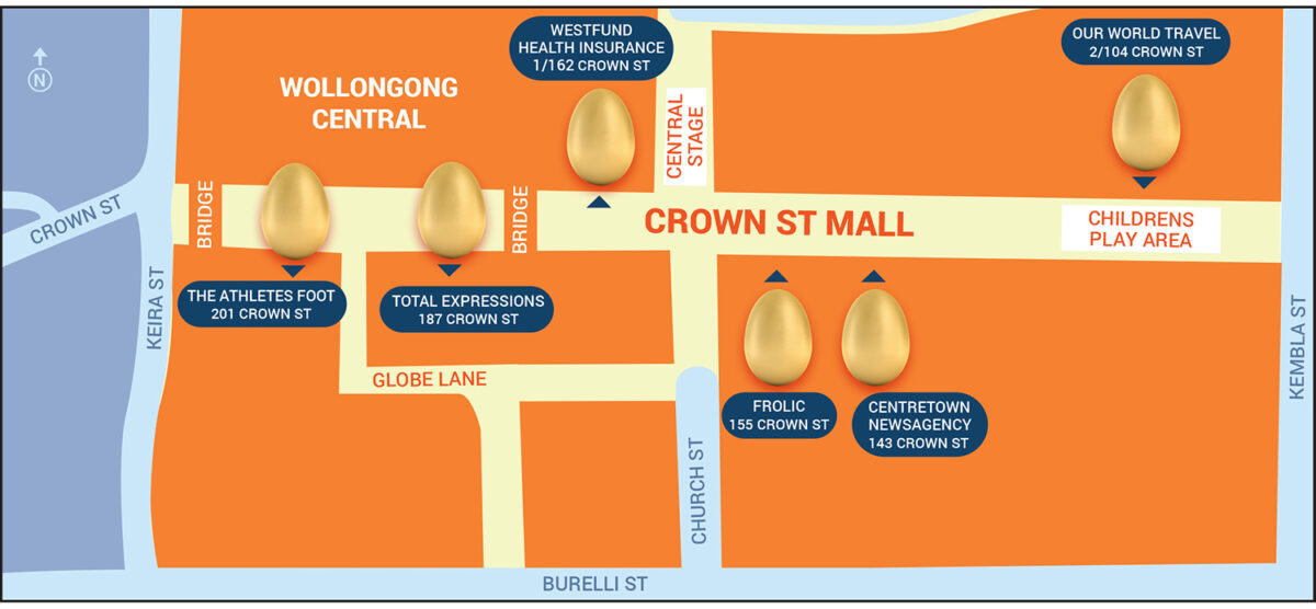 Crown Street Mall Easter Hunt map.