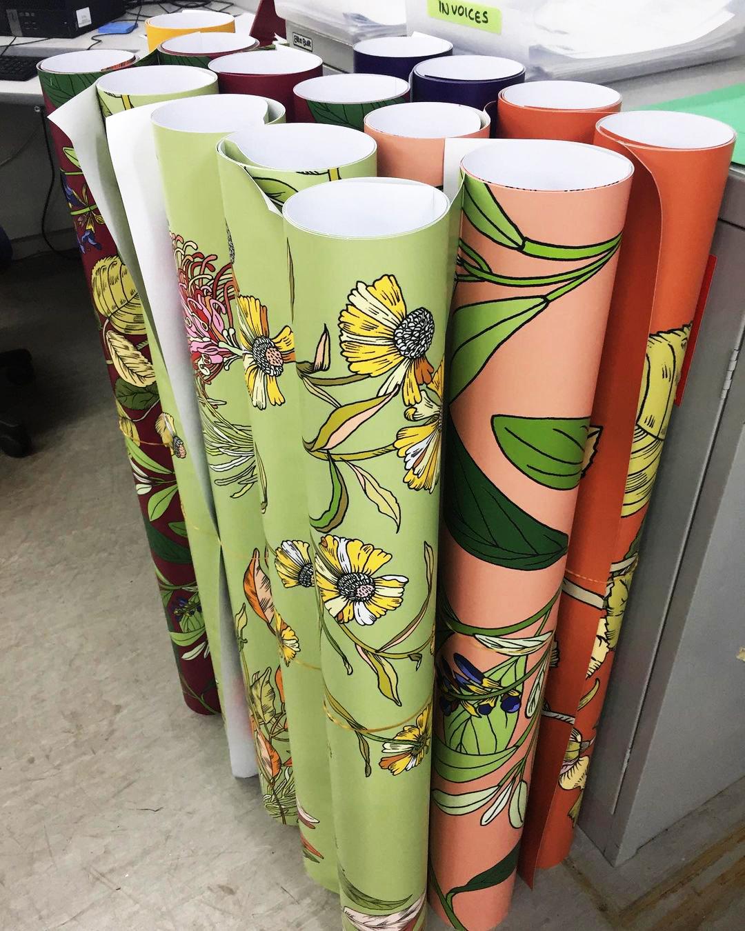 Rolls of printed floral artworks