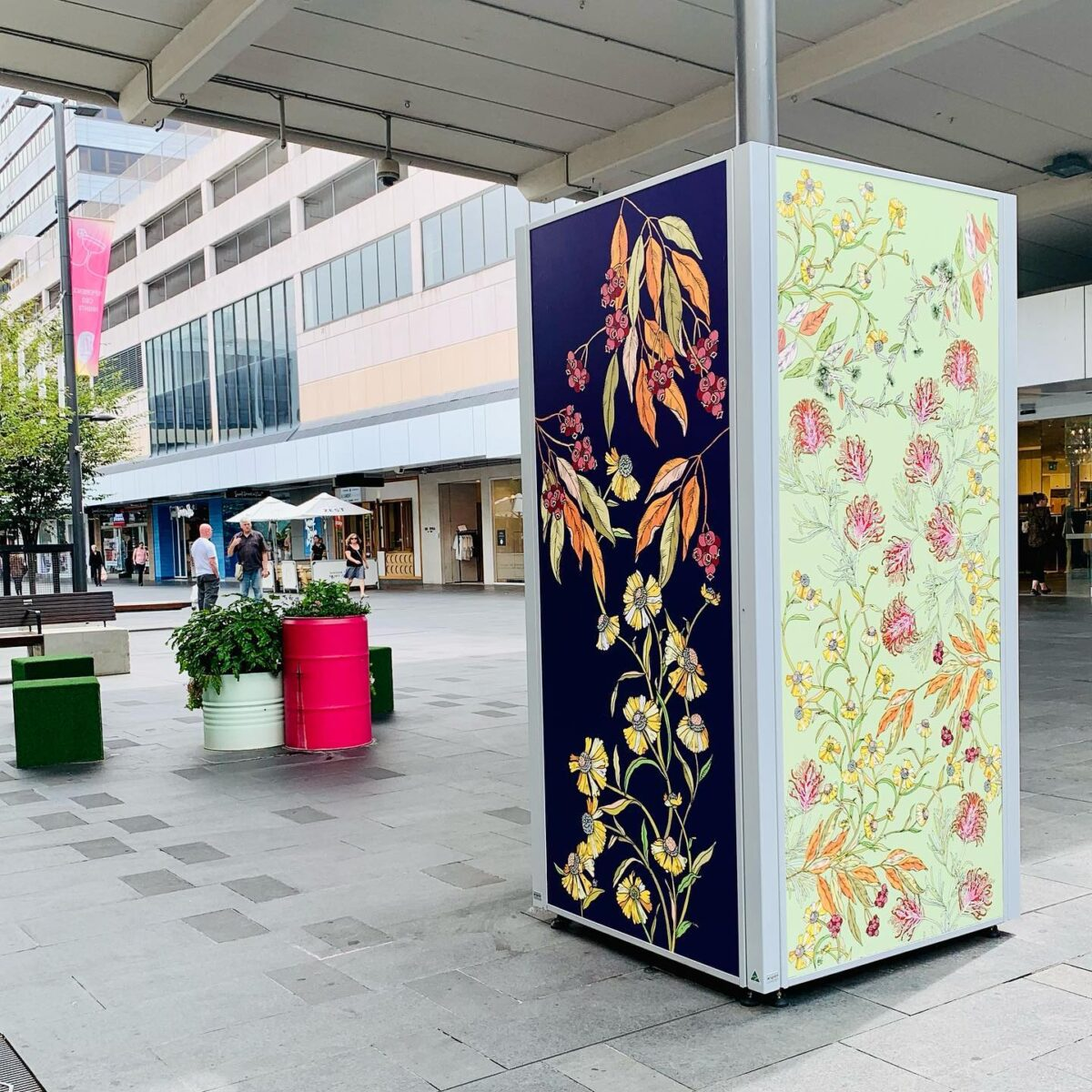 Hand-drawn floral art in Crown Street Mall