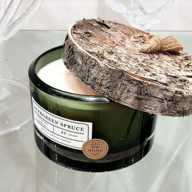 Evergreen spruce green glass candle