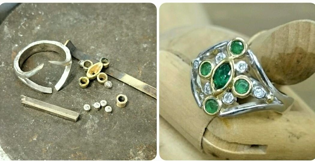 Handmade unique emerald ring, made in Wollongong